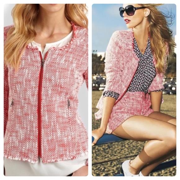 Joie Jackets & Blazers - Joie Collins Lightweigh Red White Tweed Zip Jacket